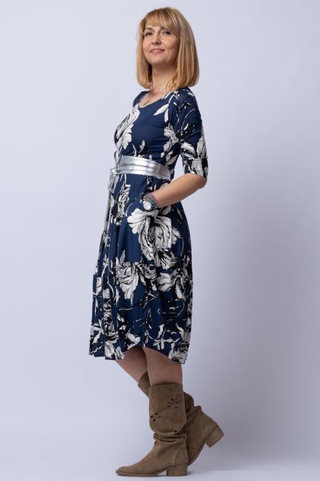 Rochie lalea cu imprimeu floral alb-albastru 1