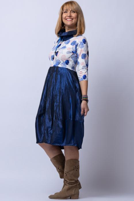 Rochie lalea cu imprimeu frunze si tafta albastra [1]