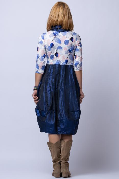 Rochie lalea cu imprimeu frunze si tafta albastra [2]