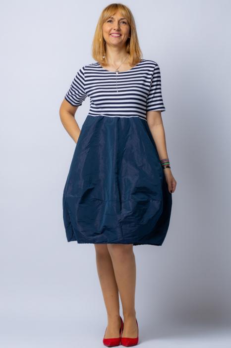 Rochie lalea cu imprimeu marinar alb negru si tafta bleumarin 0