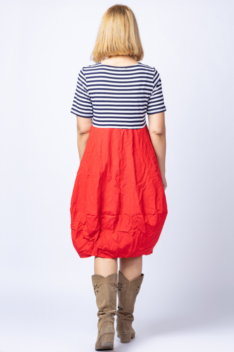 Rochie lalea cu imprimeu marinar alb bleumarin si tafta rosie [2]