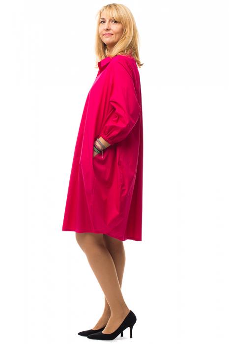 Rochie lalea midi roz fucsia cu guler camasa 1