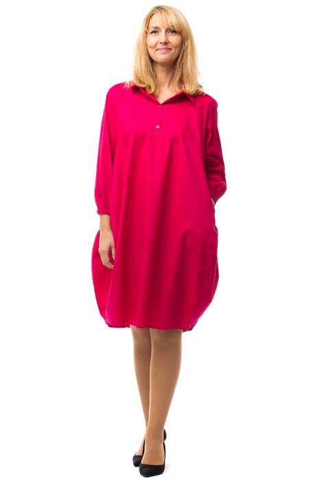 Rochie lalea midi roz fucsia cu guler camasa 0