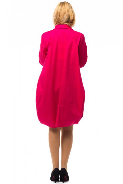 Rochie lalea midi roz fucsia cu guler camasa 2