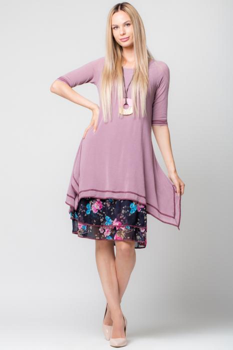 Rochie lila din jerse cu volan din voal imprimat [0]