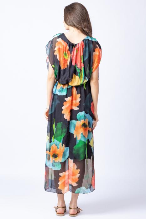 Rochie lunga, cu imprimeu floral multicolor pe fond negru, din matase 3