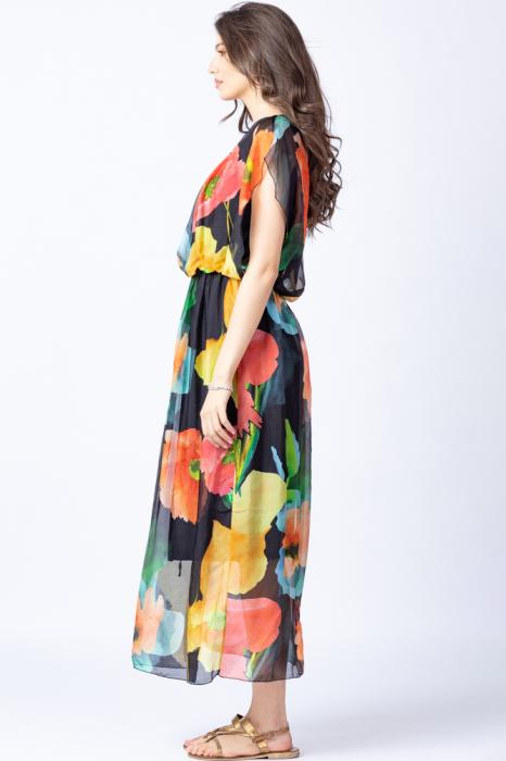 Rochie lunga, cu imprimeu floral multicolor pe fond negru, din matase 2