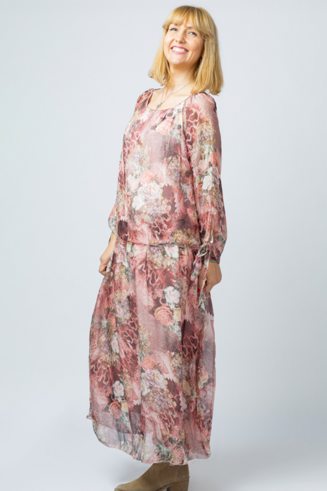 Rochie lunga, cu imprimeu floral pe nuante de roz, din matase [2]