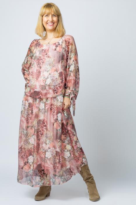 Rochie lunga, cu imprimeu floral pe nuante de roz, din matase [1]