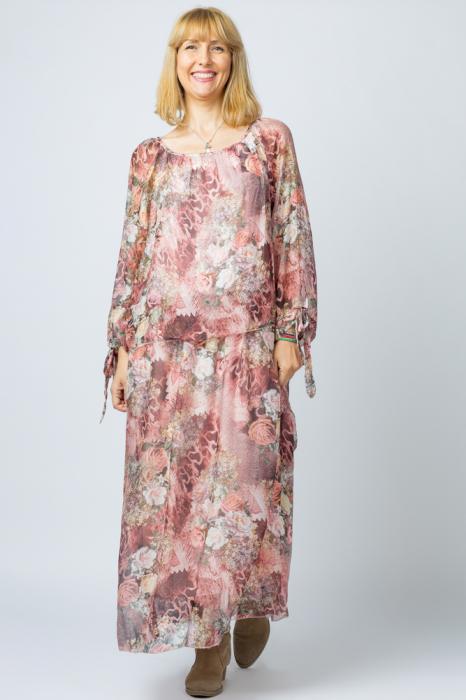 Rochie lunga, cu imprimeu floral pe nuante de roz, din matase [0]
