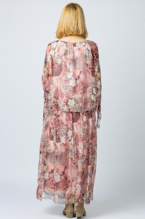 Rochie lunga, cu imprimeu floral pe nuante de roz, din matase [3]
