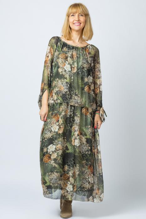 Rochie lunga, cu imprimeu floral pe nuante de verde kaki, din matase [3]