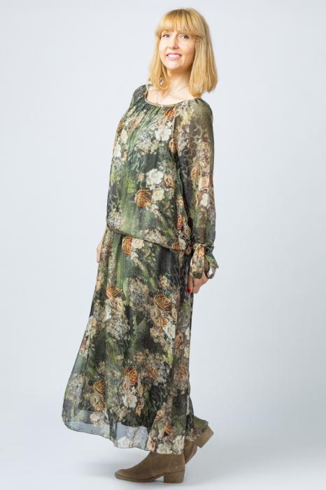 Rochie lunga, cu imprimeu floral pe nuante de verde kaki, din matase [1]