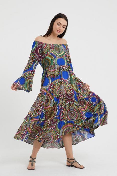 Rochie lunga cu imprimeu multicolor cu fond albastru, cu 4 volane din tesatura fina din vascoza [0]