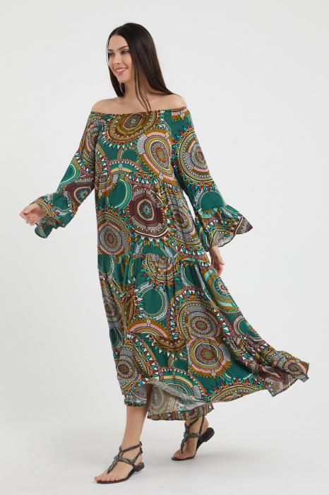 Rochie lunga cu imprimeu multicolor cu fond verde, cu 4 volane din tesatura fina din vascoza [1]