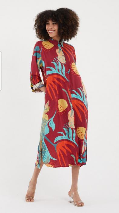 Rochie lunga cu modele florale, tip camasa, cu buzunare din vascoza [0]