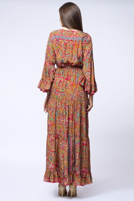 Rochie lunga cu volane si imprimeu floral, din matase indiana fucsia - verde [3]