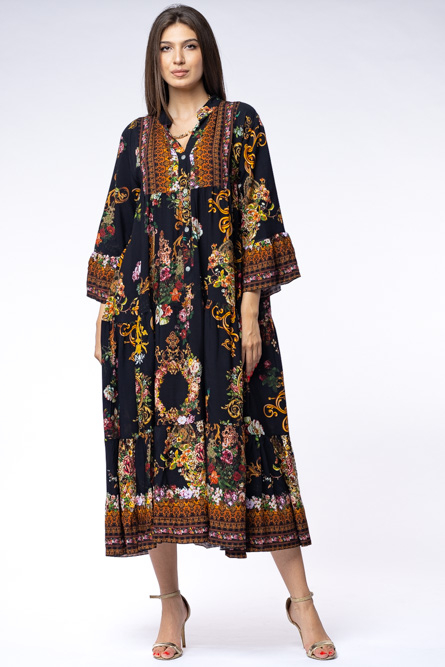 Rochie lunga gipsy din vascoza cu doua volane si imprimeu decorativ pe fond negru [2]