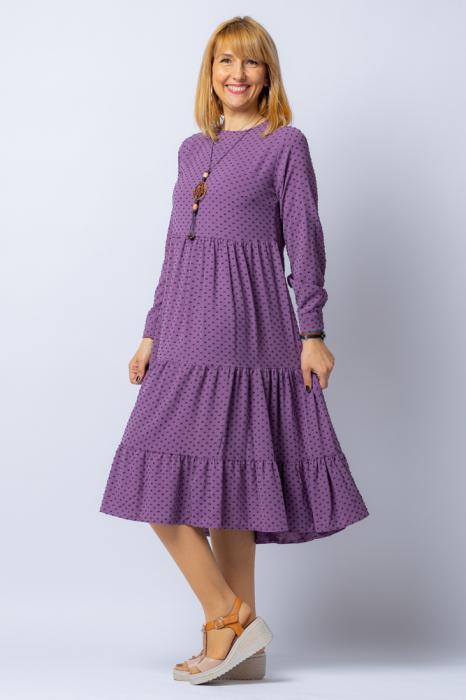 Rochie lunga lila cu trei volane si bulinute, din vascoza [1]