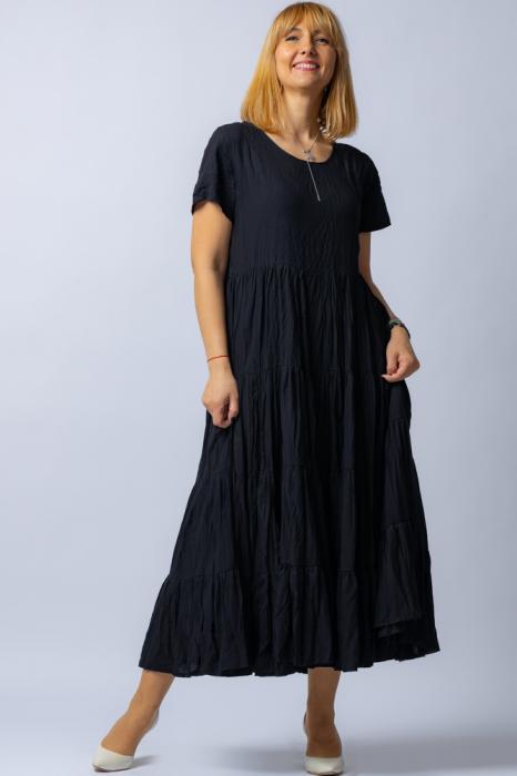 Rochie lunga neagra cu 4 volane din tesatura fina de bumbac 1