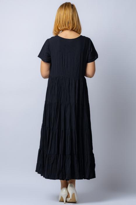 Rochie lunga neagra cu 4 volane din tesatura fina de bumbac 2