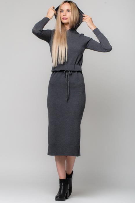 Rochie gri lunga tricotata cu gluga si snur in talie 0