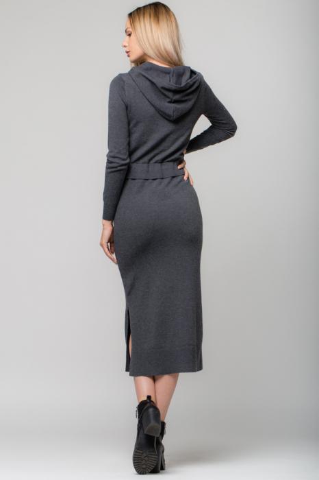 Rochie gri lunga tricotata cu gluga si snur in talie 2