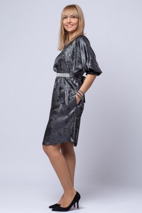 Rochie eleganta, negra cu patina argintie [1]