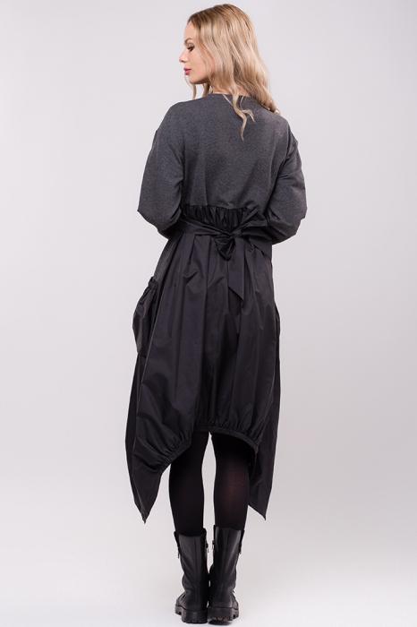 Rochie midi din tafta neagra si tricot gri, in colturi 2