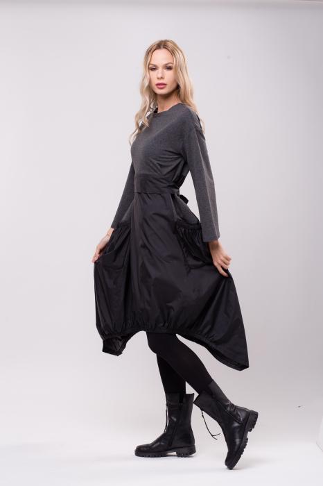Rochie midi din tafta neagra si tricot gri, in colturi 1