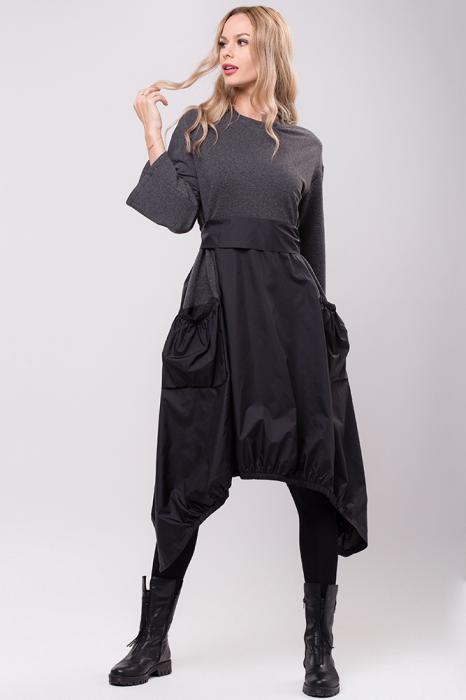 Rochie midi din tafta neagra si tricot gri, in colturi 0