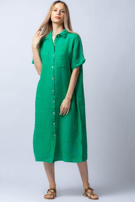 Rochie midi verde, tip camasa, cu buzunare aplicate, din in [0]