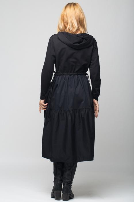 "Rochie neagra cu gluga din poplin si tricot ""Simple Things"" [5]"