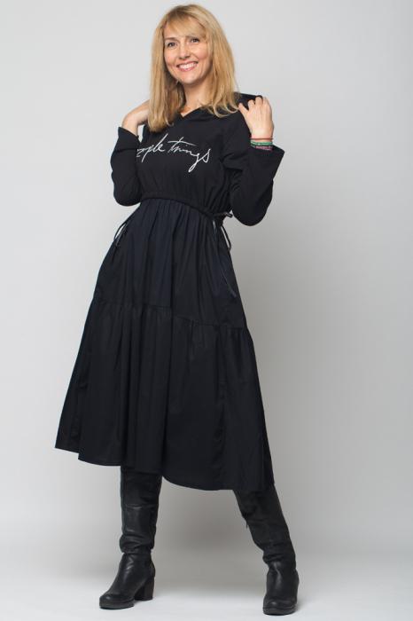 "Rochie neagra cu gluga din poplin si tricot ""Simple Things"" [0]"