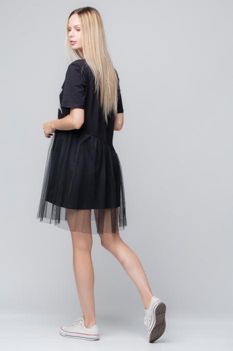 Rochie neagra cu tul negru si imprimeu floarea soarelui 1