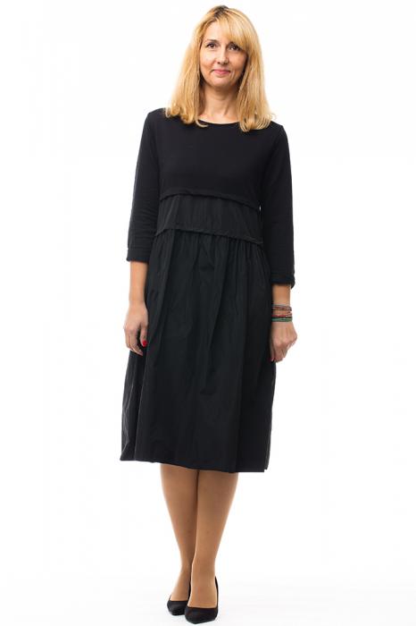 Rochie neagra din tafta si tricot 2