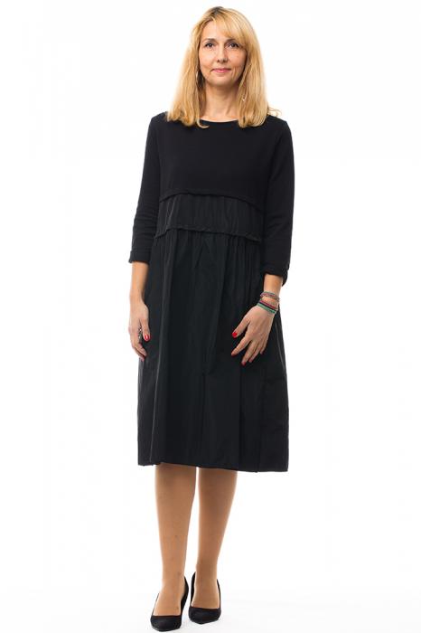 Rochie neagra din tafta si tricot 4