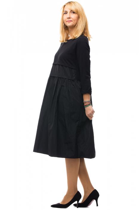 Rochie neagra din tafta si tricot 5