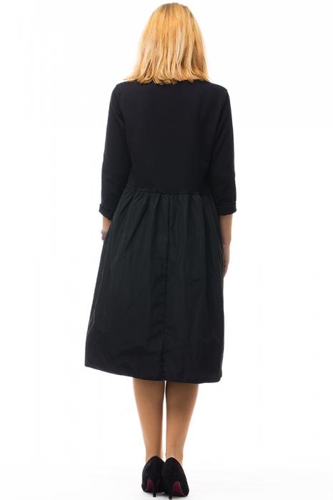 Rochie neagra din tafta si tricot 3