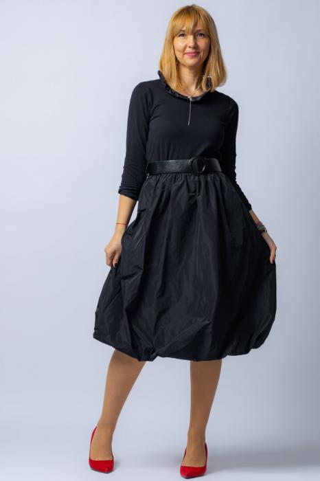Rochie neagra gogosar  cu curea din tafta [0]