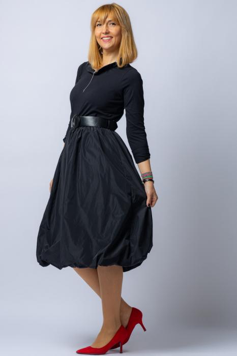 Rochie neagra gogosar  cu curea din tafta [2]