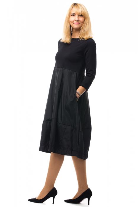 Rochie neagra gogosar din tricot si tafta cu buzunare [3]