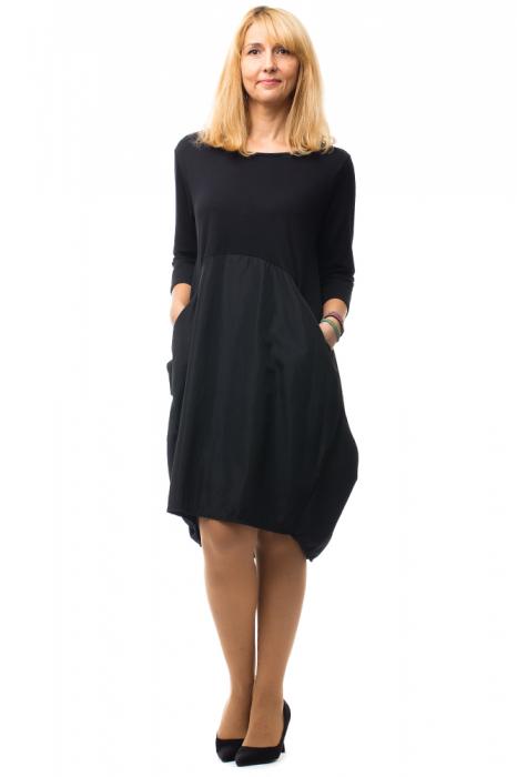 Rochie neagra gogosar din tricot si tafta cu buzunare [0]