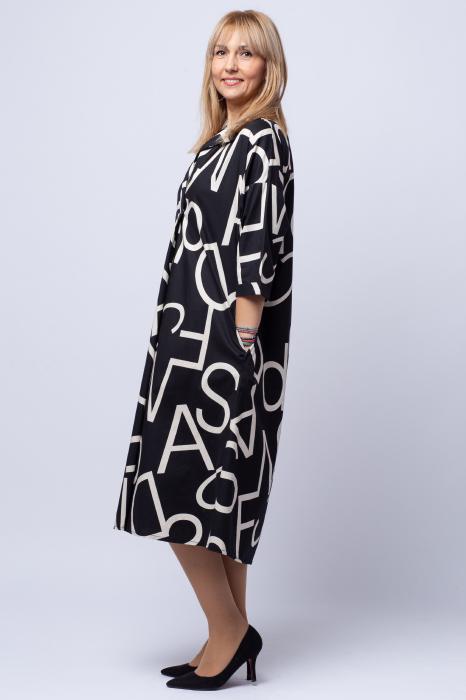 Rochie neagra lunga cu imprimeu litere albe 1