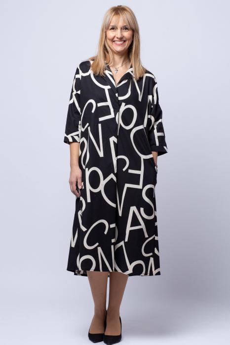 Rochie neagra lunga cu imprimeu litere albe 0