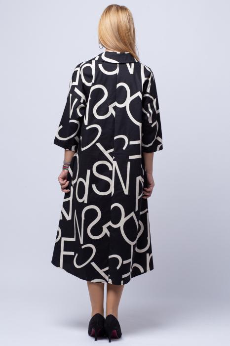 Rochie neagra lunga cu imprimeu litere albe 2