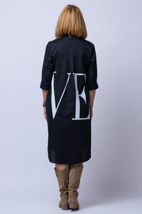 Rochie neagra lunga tip camasa cu imprimeu LOVE [2]