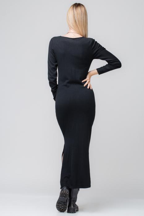Rochie neagra lunga tricotata 1