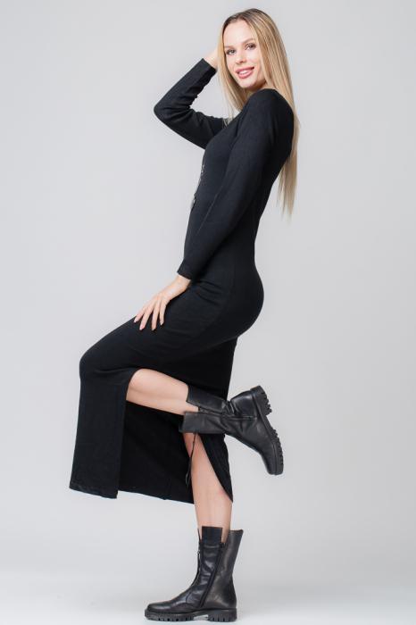 Rochie neagra lunga tricotata 0