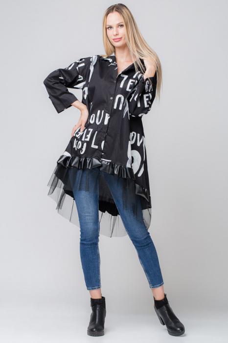 Rochie neagra pentru colanti cu tul si imprimeu [0]